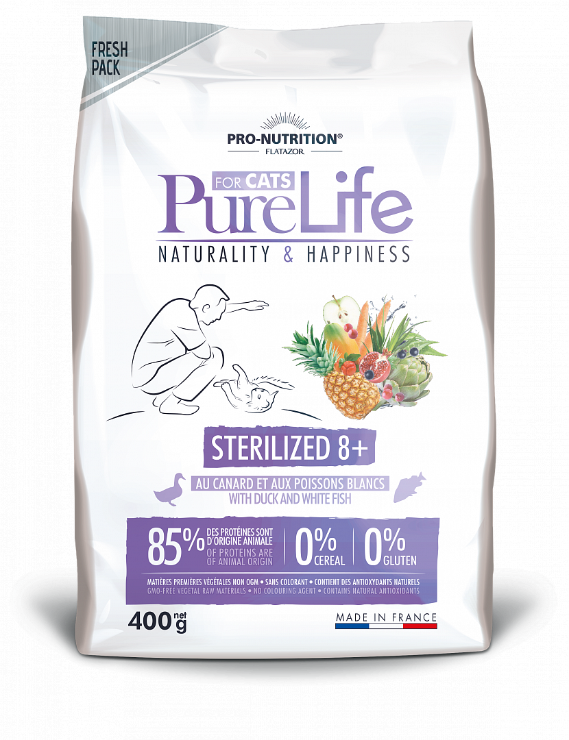 PURE LIFE STERILIZED 8+ WITH DUCK AND WHITE FISH